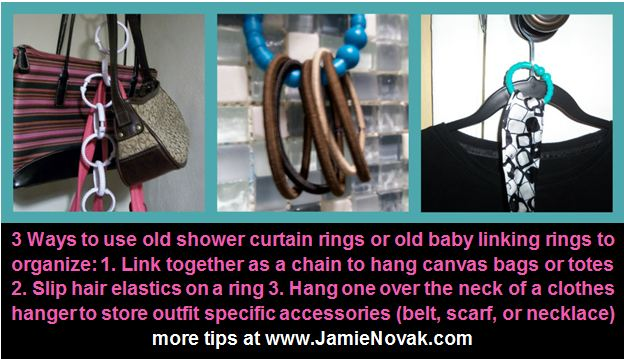 3 Clever ways to organize using shower curtain rings with Jamie Novak