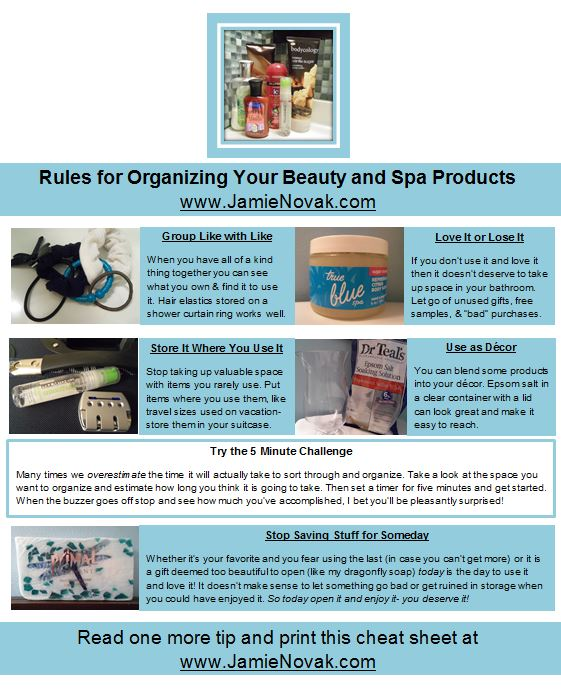 Rules for Organizing Your Spa Products from Jamie Novak